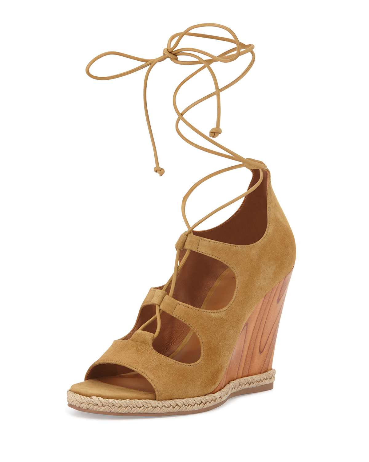 burch raya suede lace up wedge sandal in