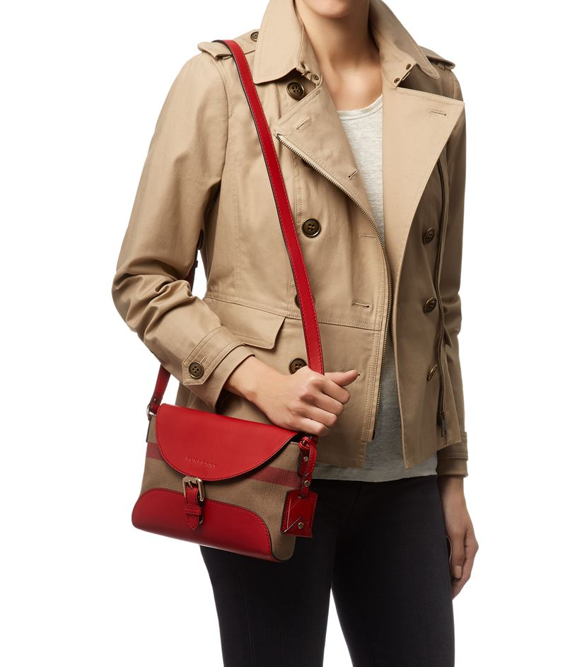 5ed8a74d6 Burberry Small Leather Detail Canvas Check Crossbody Bag in Red - Lyst