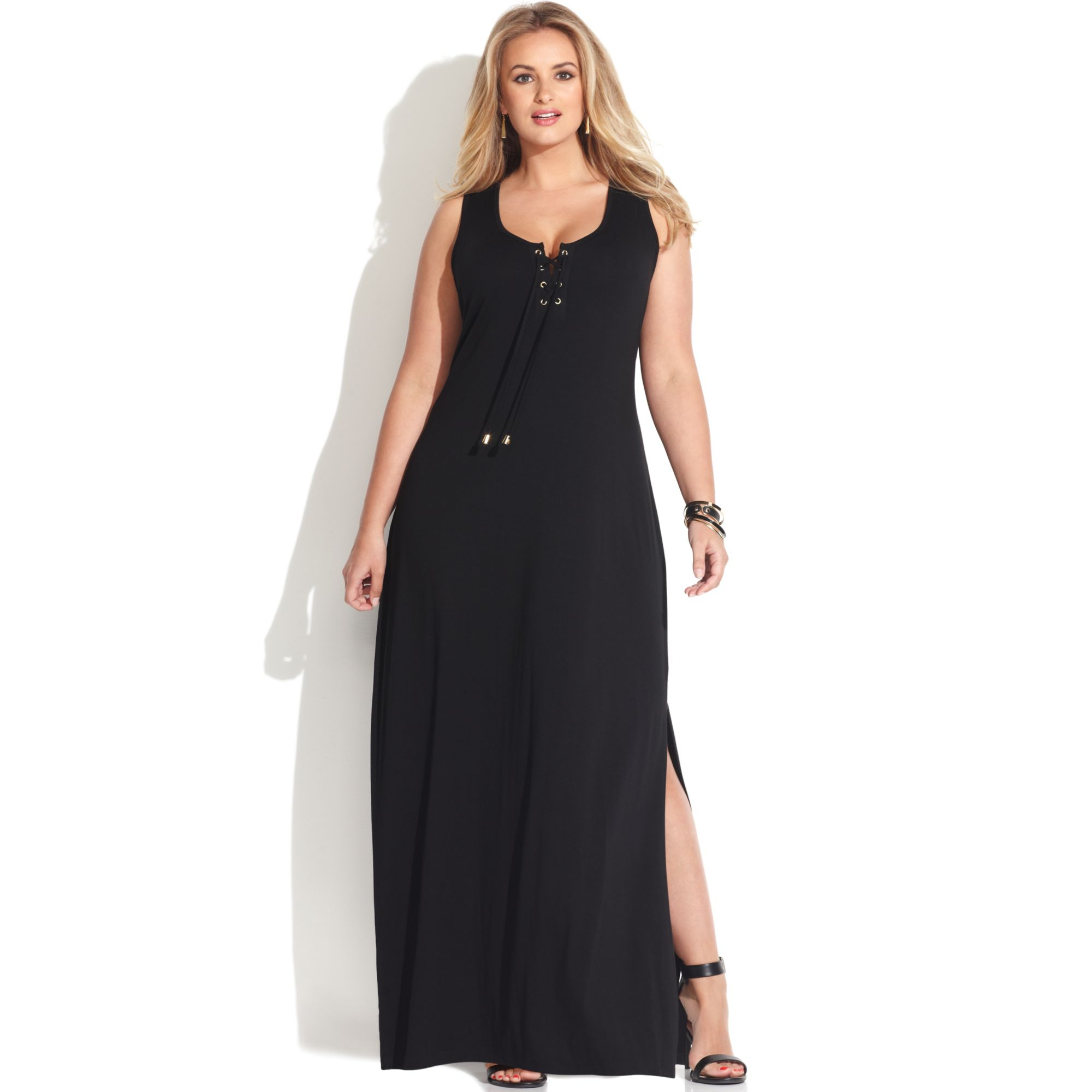 73fc98d2fd28 Lyst - Vince Camuto Plus Size Sleeveless Lace Up Maxi Dress in Black