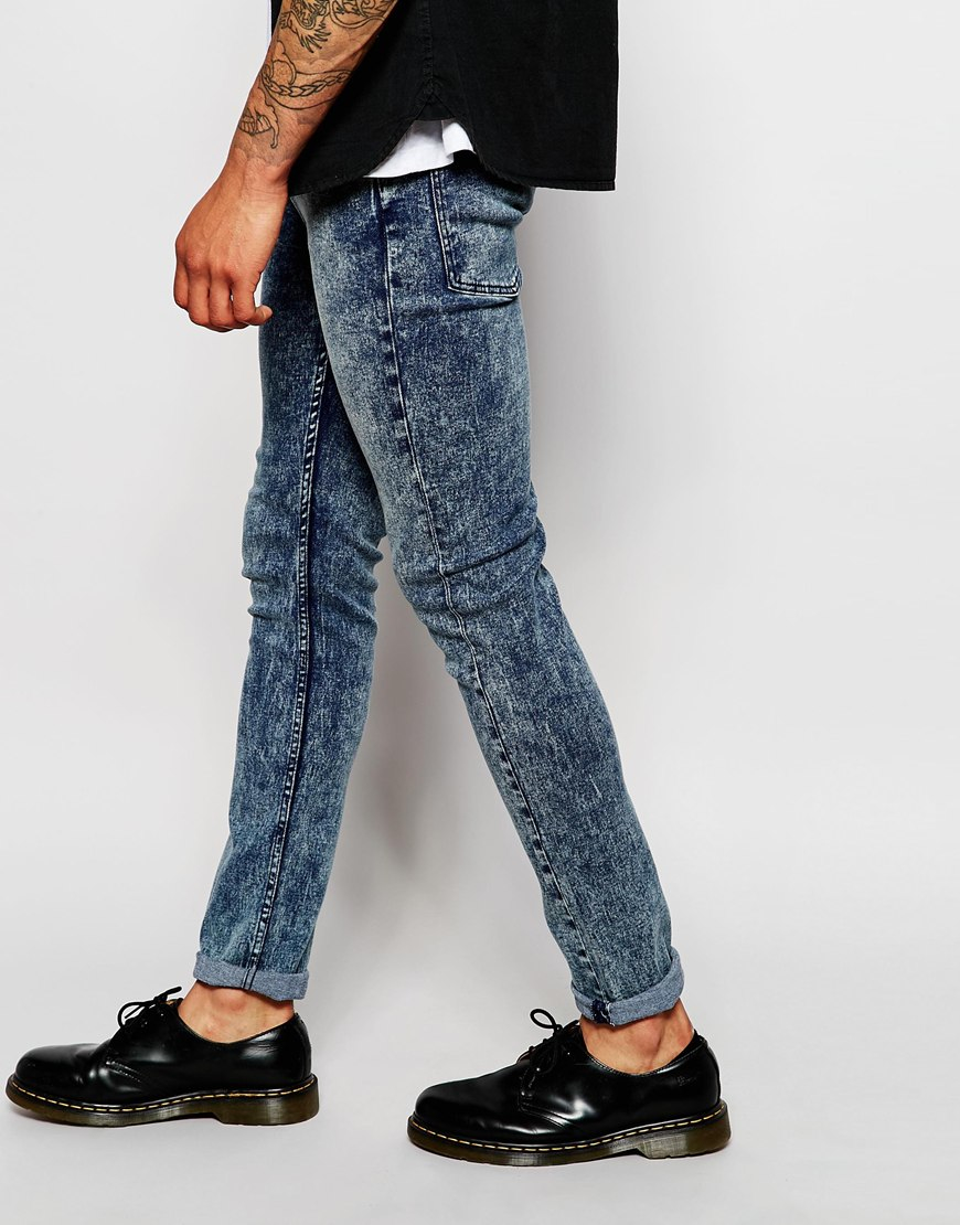 Cheap monday Jeans Tight Skinny Fit Zine Blue Acid Wash in Blue