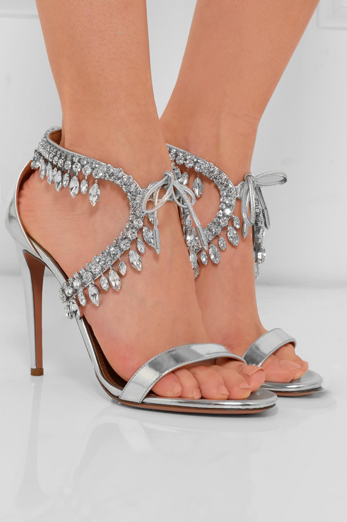 Metallic leather sandals Aquazzura 63oGOj2w