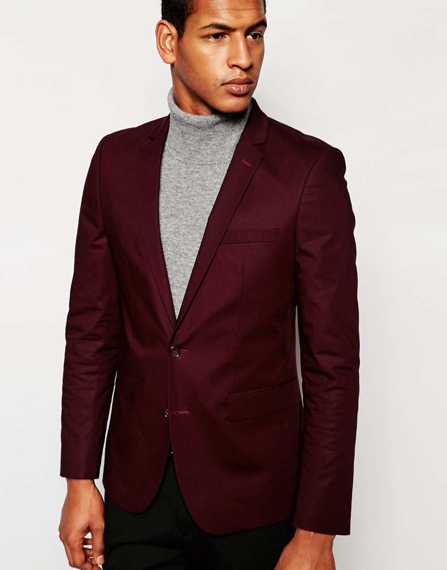 Asos Skinny Suit Jacket In Poplin In Red in Red for Men | Lyst