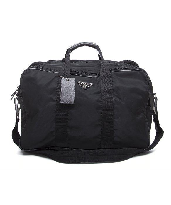 prada handbag with flower - Prada Pre-owned Black Nylon Duffle Bag With Strap in Black for Men ...