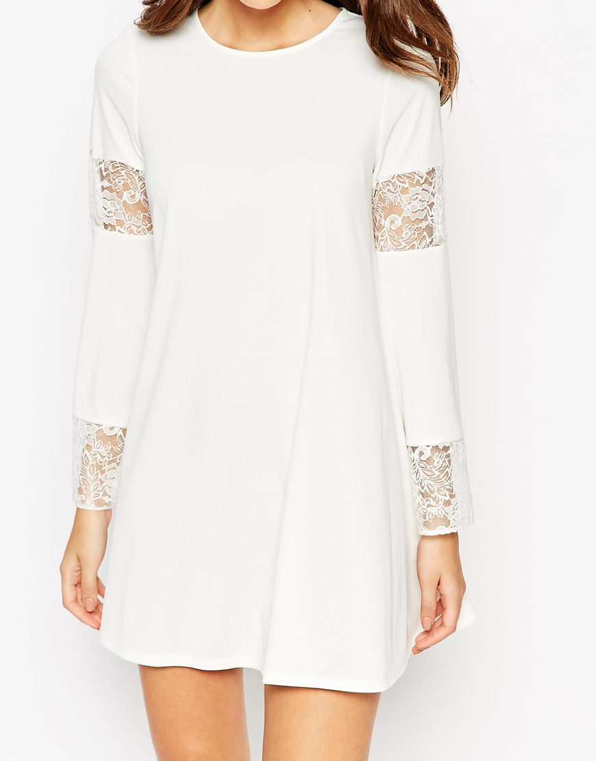 614006329692 ASOS Boho Swing Dress With Long Sleeve And Lace Inserts in White - Lyst