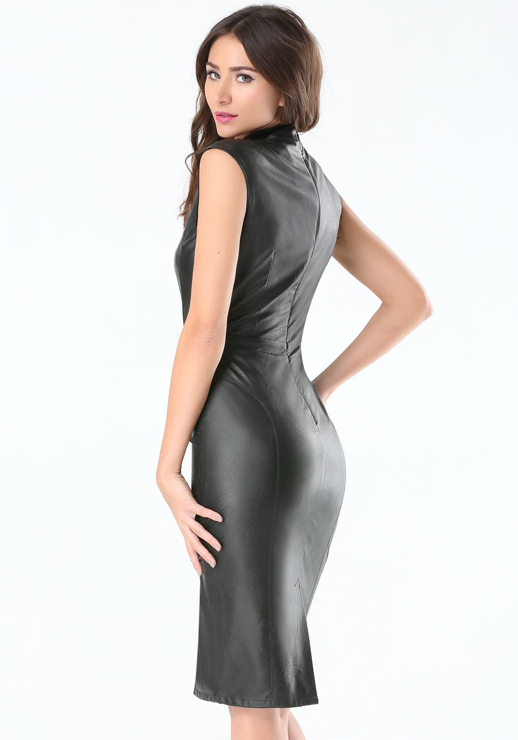 Bebe Petite Faux Leather Dress in Black | Lyst