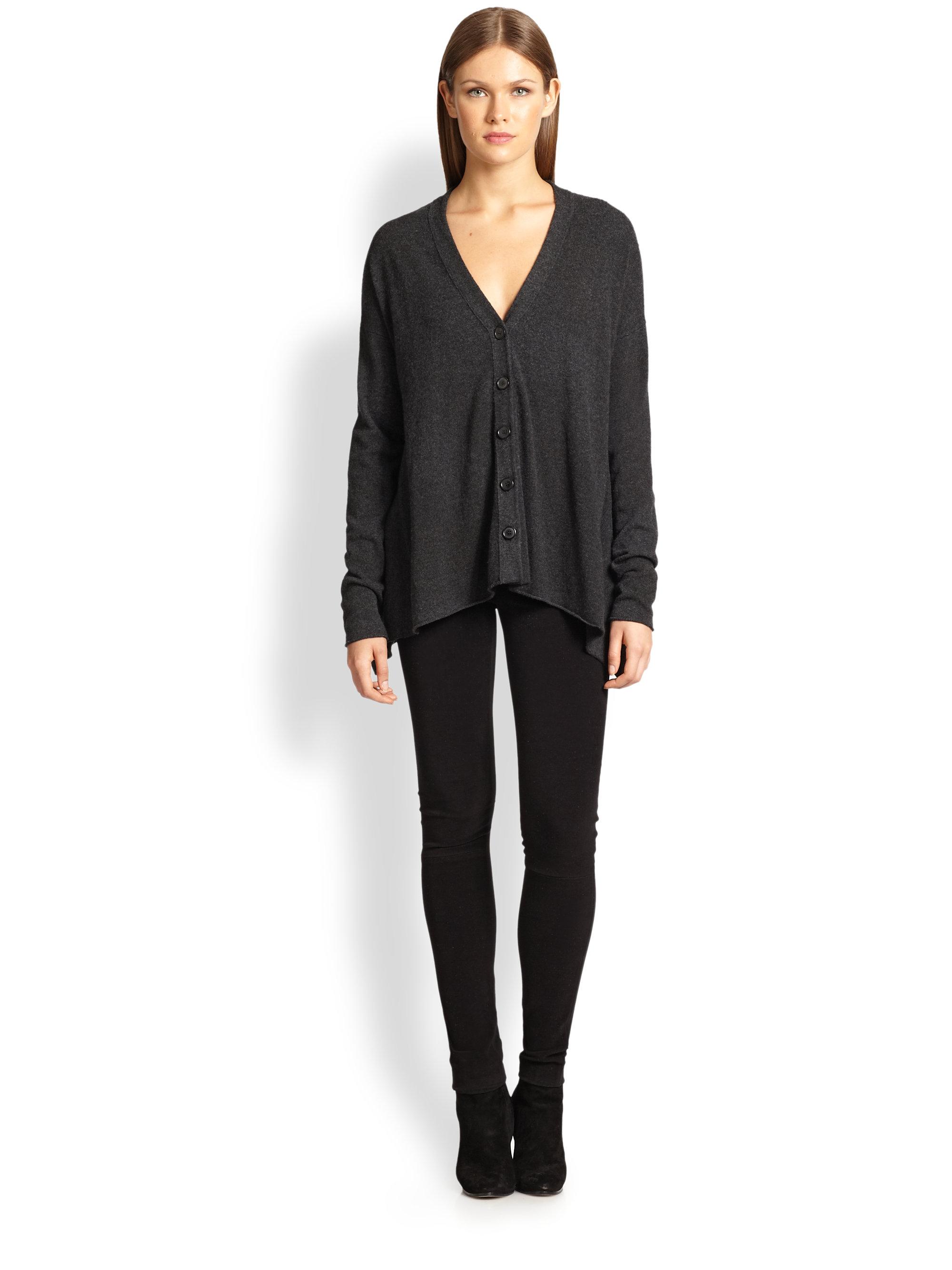 donna karan new york wool cashmere cardigan in gray. Black Bedroom Furniture Sets. Home Design Ideas