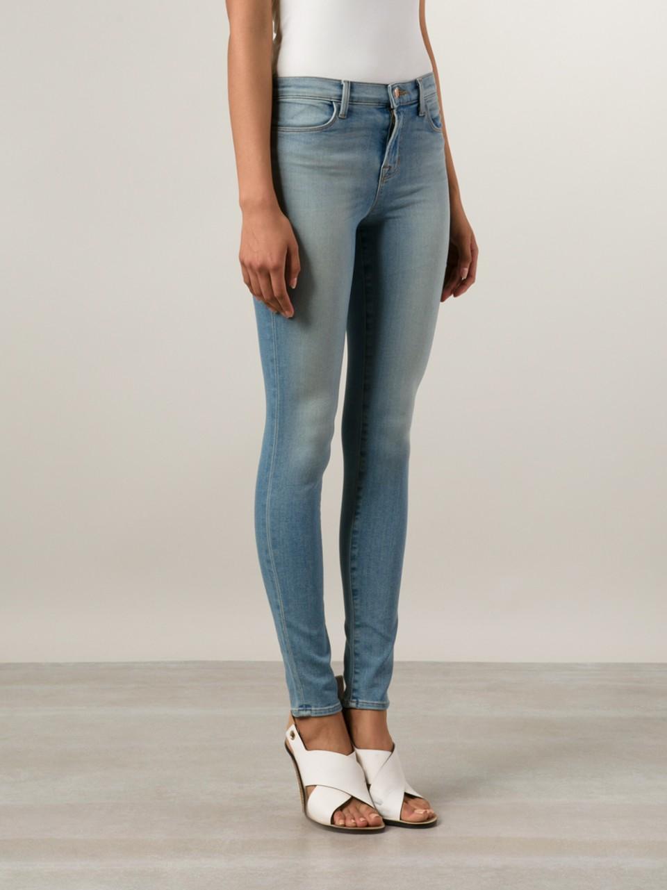 j brand maria skinny jean in blue lyst. Black Bedroom Furniture Sets. Home Design Ideas