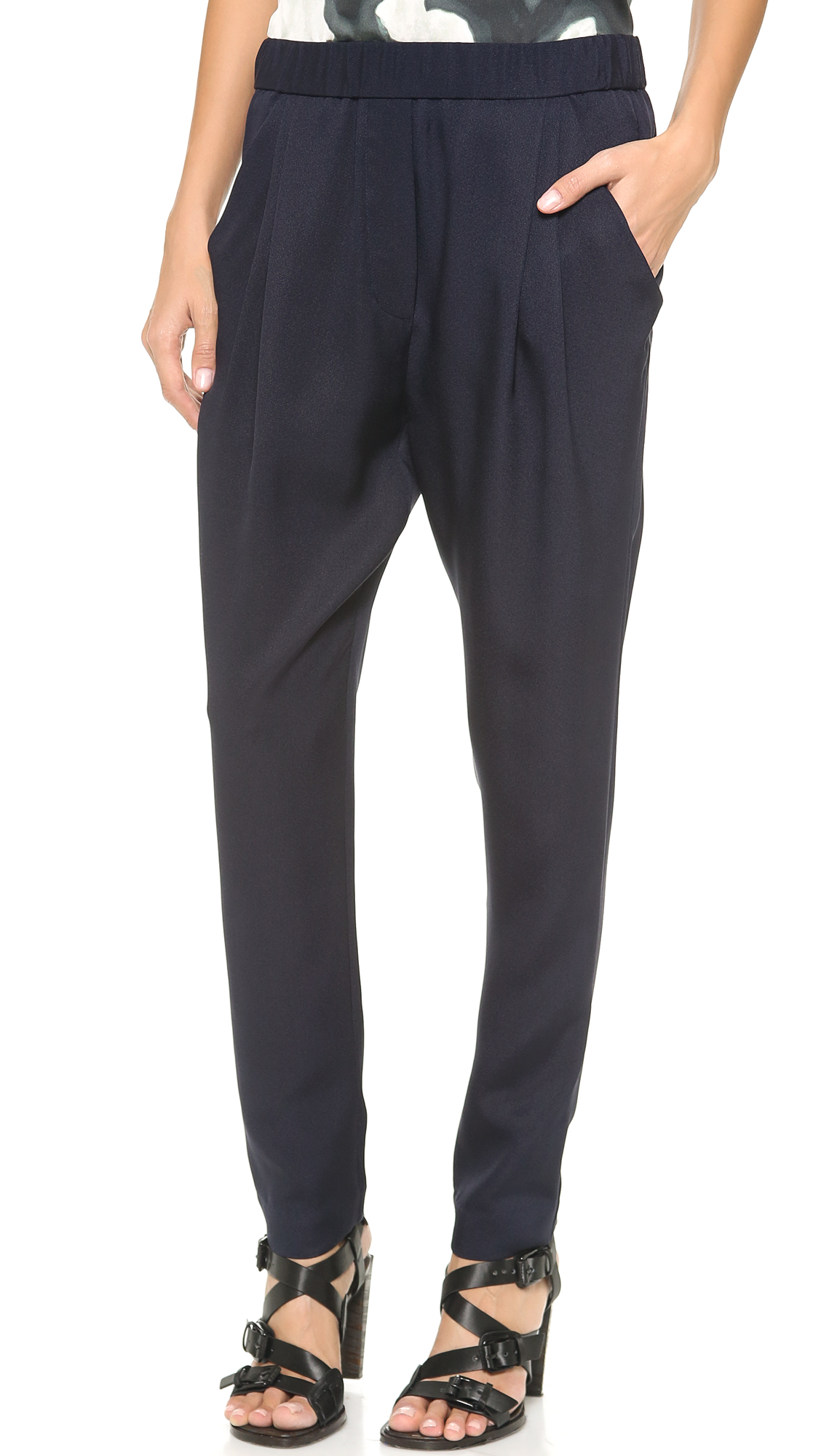 3.1 phillip lim Draped Pocket Trousers in Blue | Lyst