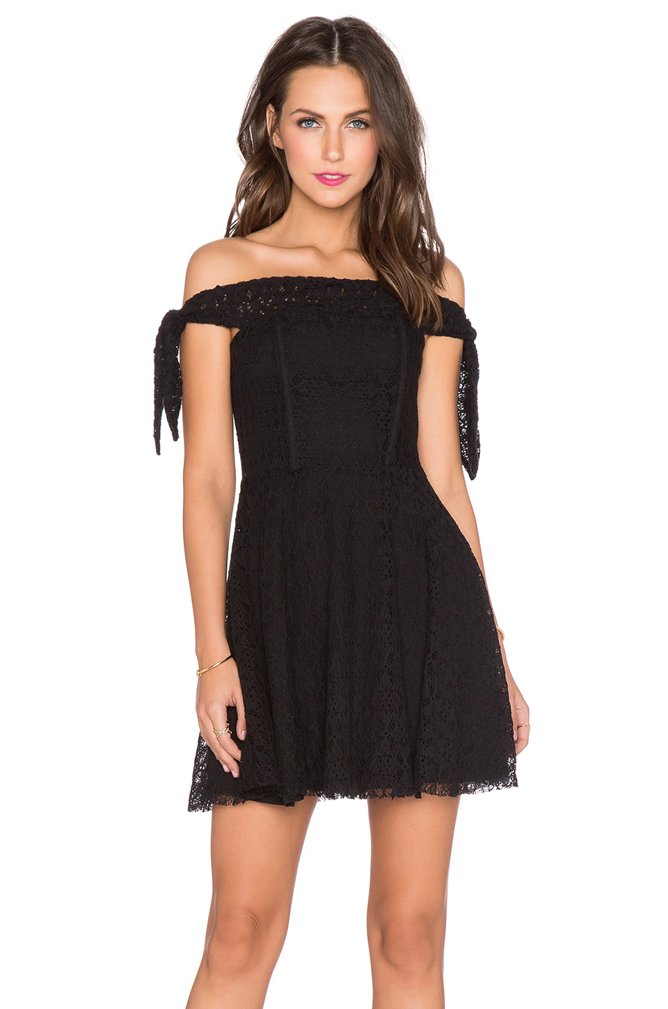 Lyst lucca couture off the shoulder cotton blend dress for Couture clothing