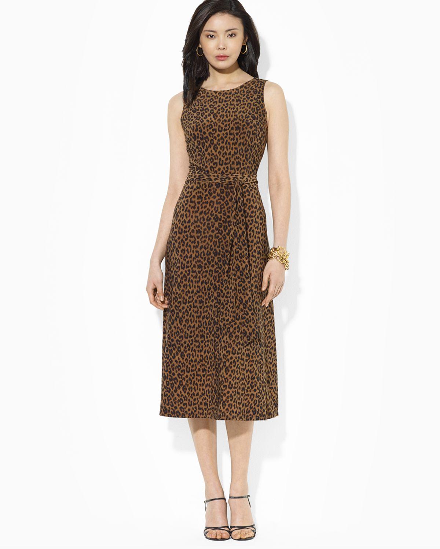 Lyst Ralph Lauren Lauren Dress Animal Print Matte Jersey