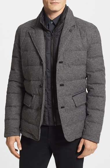 Lyst Vince Camuto Flannel Quilted Down Amp Feather Jacket