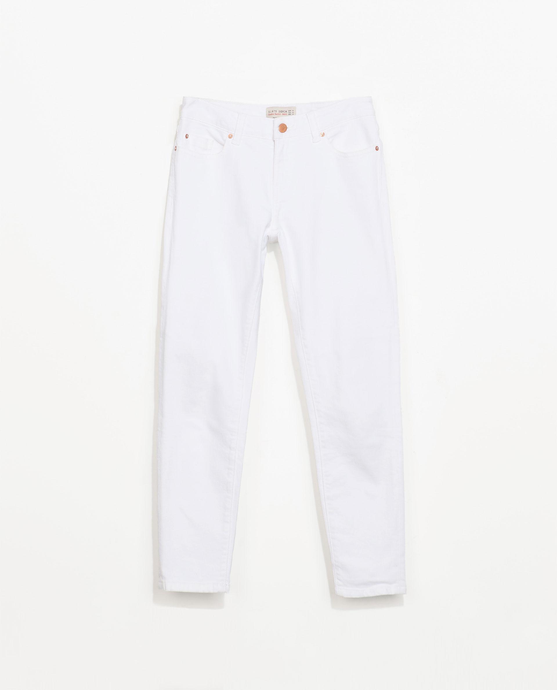 Zara Capri Jeans in White | Lyst