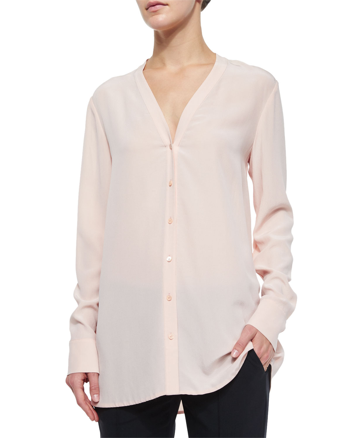 Vince V Neck Button Down Silk Blouse In Pink Lyst