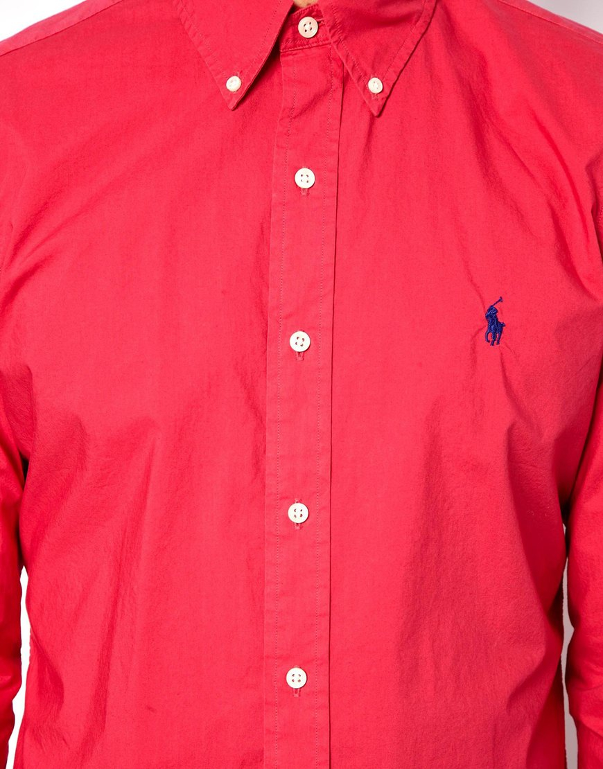 Polo ralph lauren Shirt in Poplin Bright Pink Slim Fit in Pink for ...