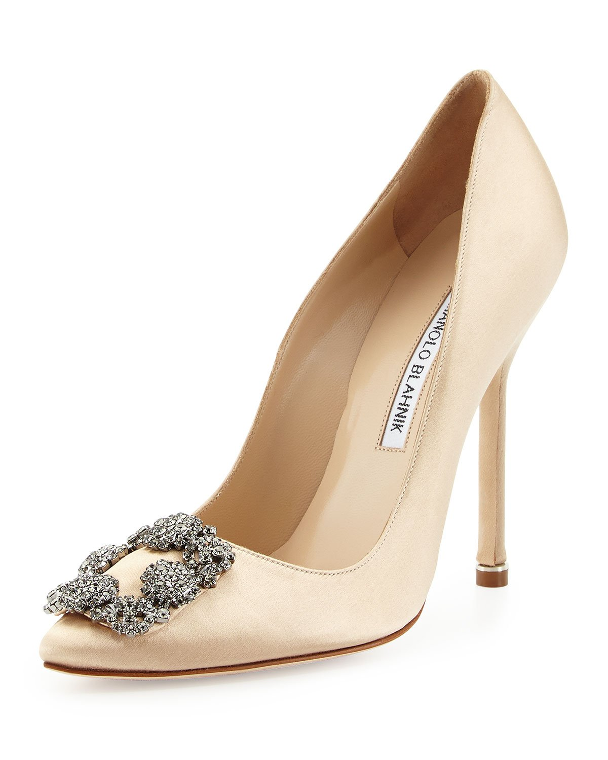 Lyst manolo blahnik hangisi satin crystal toe pumps in for Shoes by manolo blahnik
