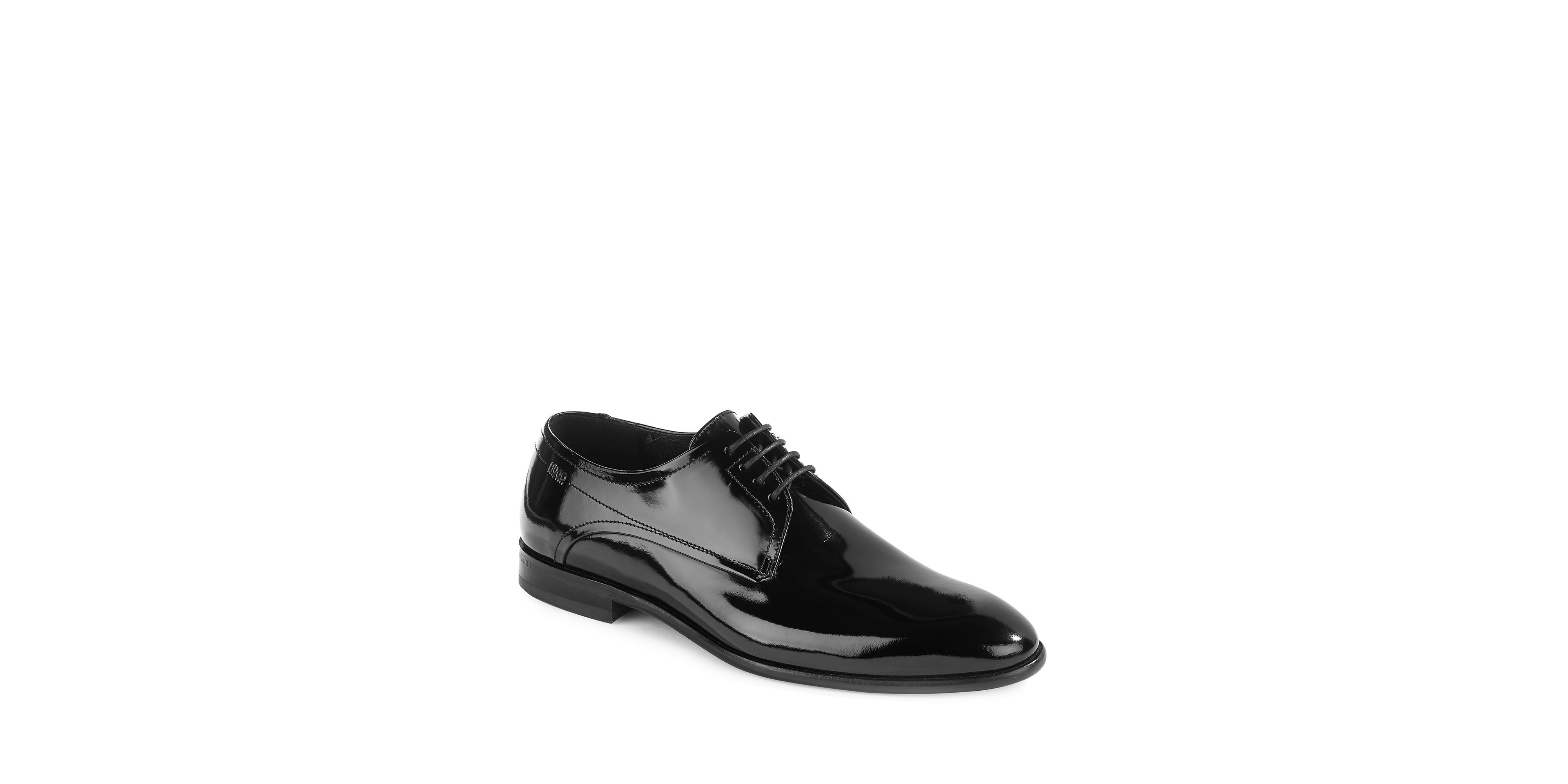 hugo dresspat patent leather derby shoes in black for