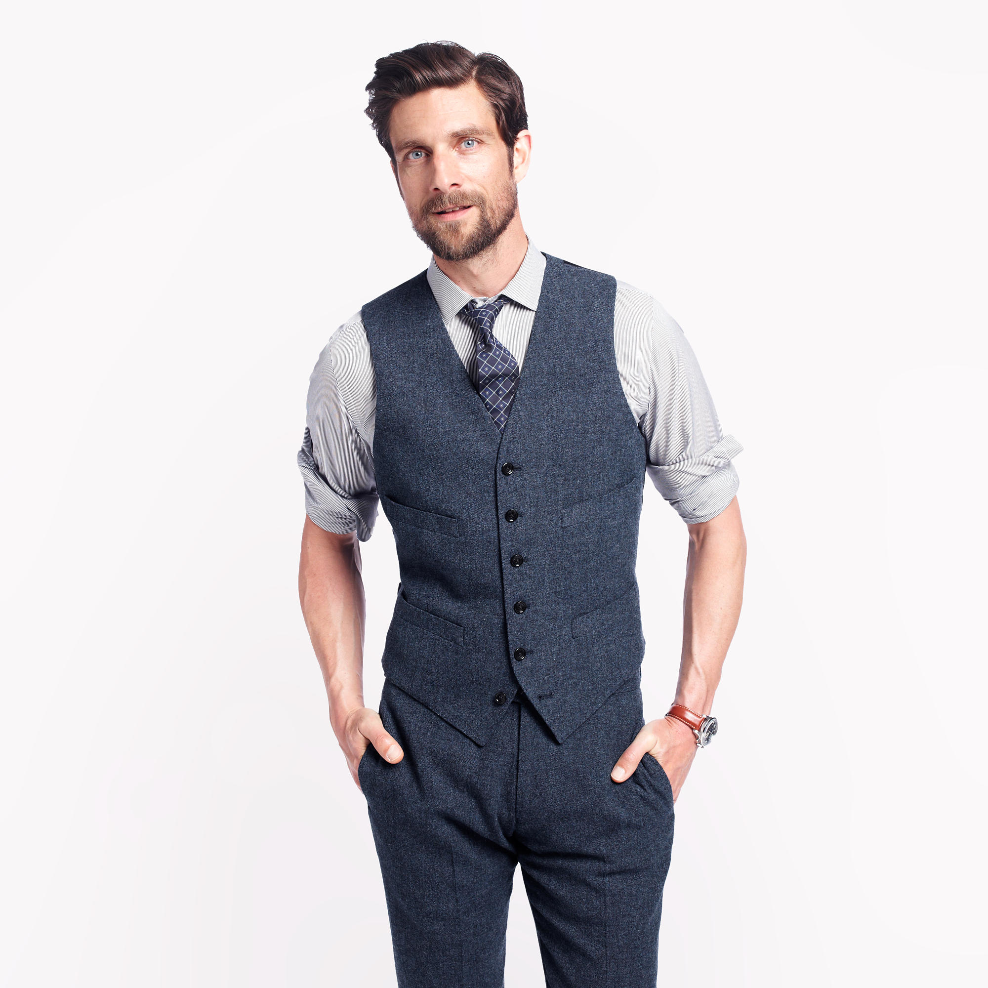 Ludlow suit vest in english wool in blue for men lyst for J crew mens outfits