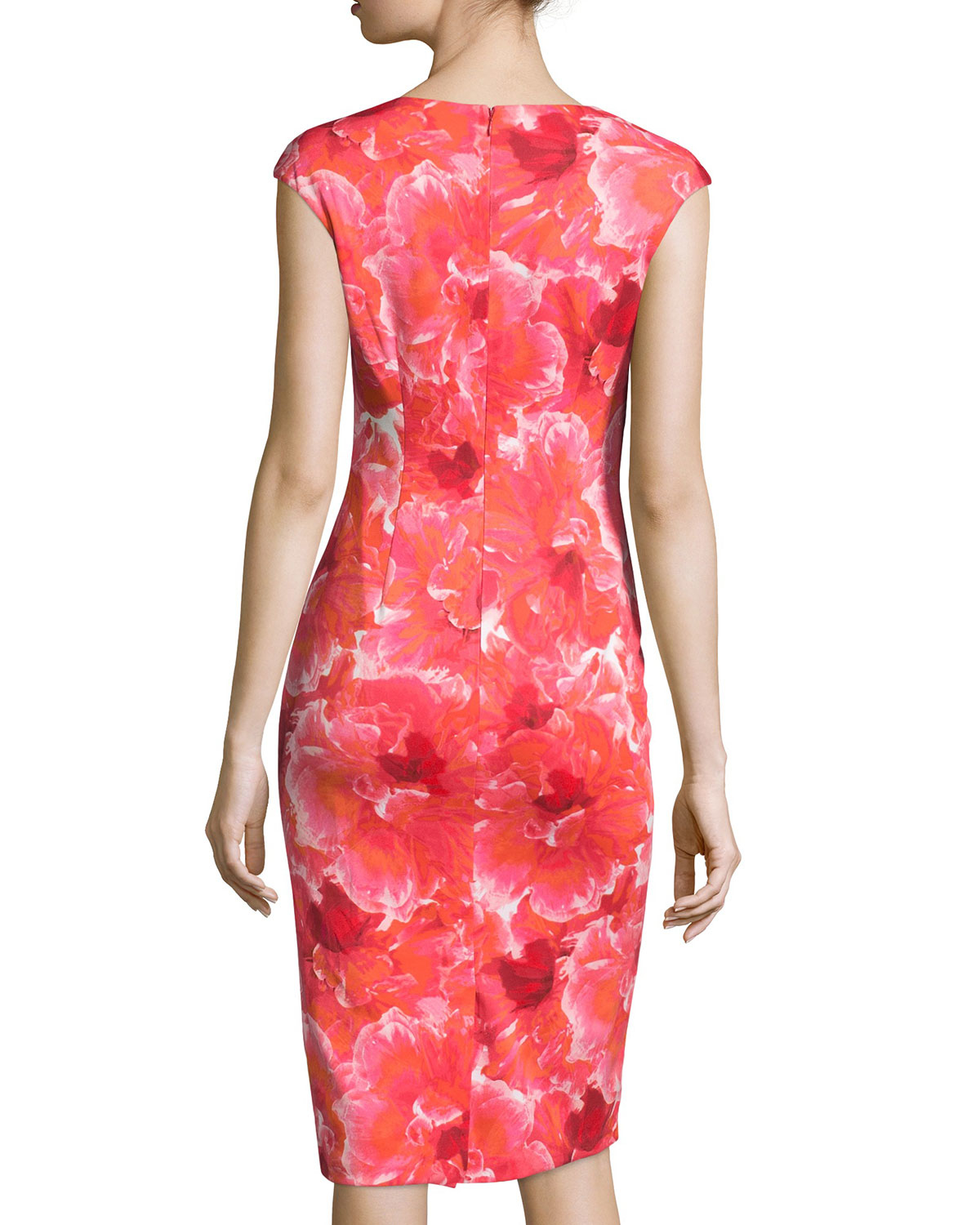 Lyst Maggy London Floral Scuba Cap Sleeve Midi Dress In Red