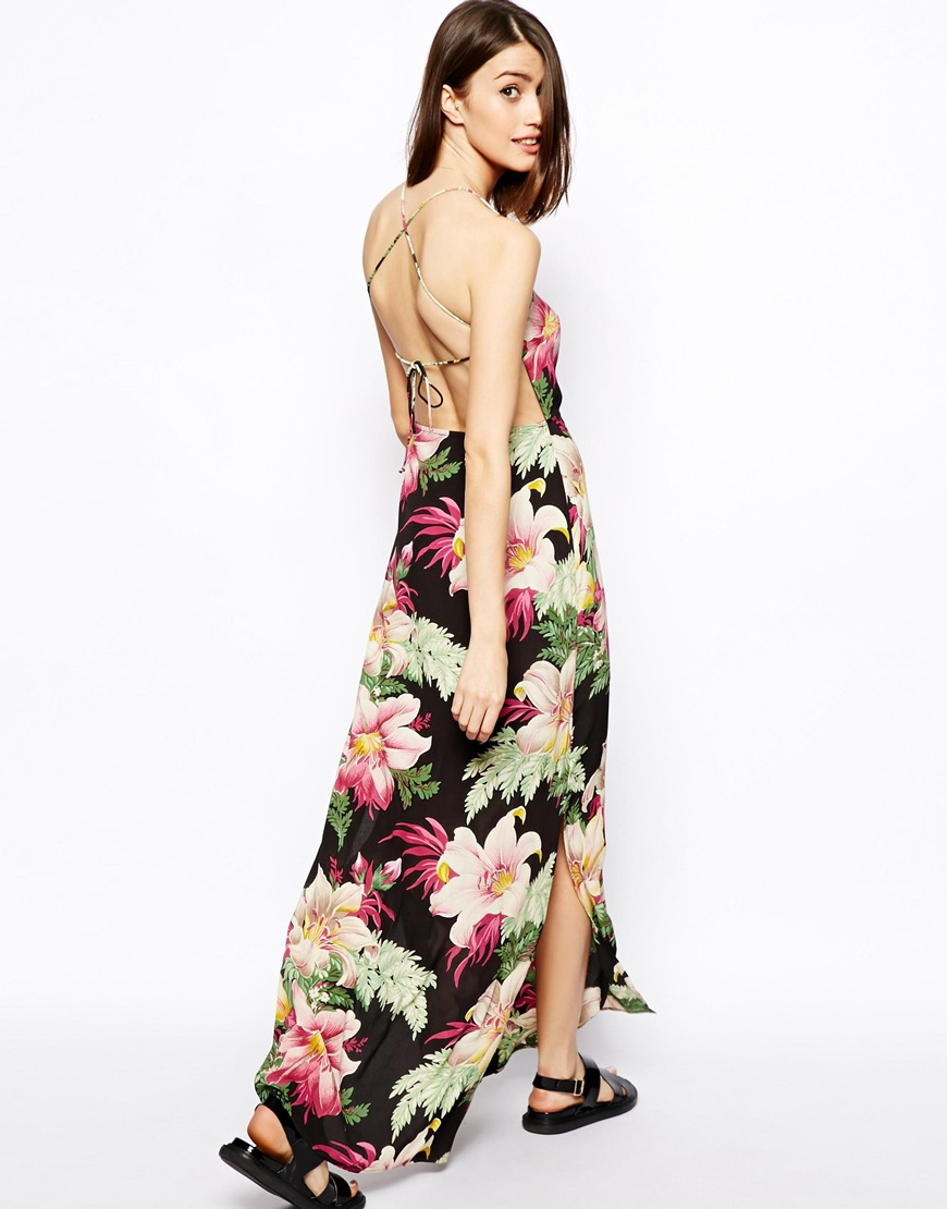 Lyst - Asos Maxi Dress In Hawaiian Print With Strappy Back