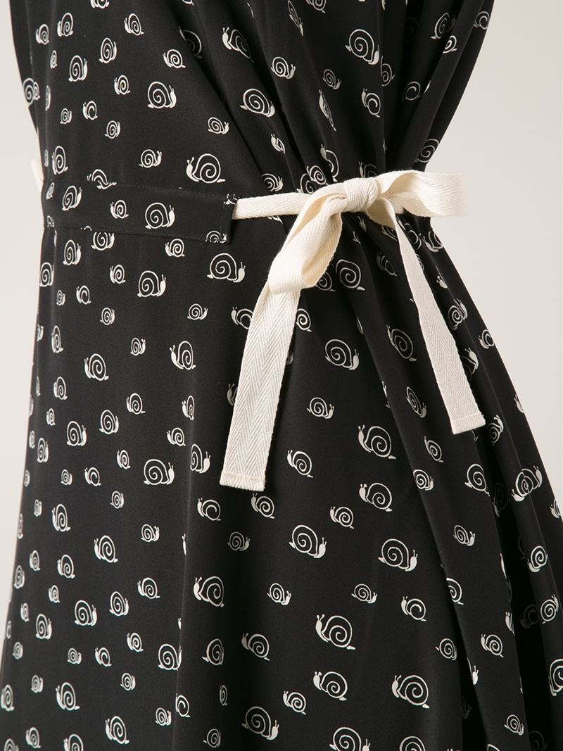 band of outsiders snail printed silk dress in black lyst