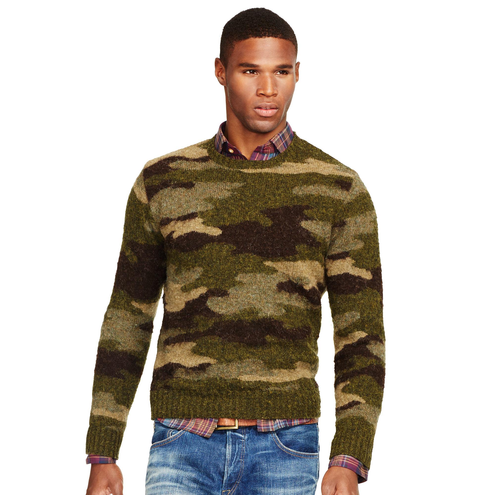 Polo Ralph Lauren Camo Wool Crewneck Sweater In Multicolor