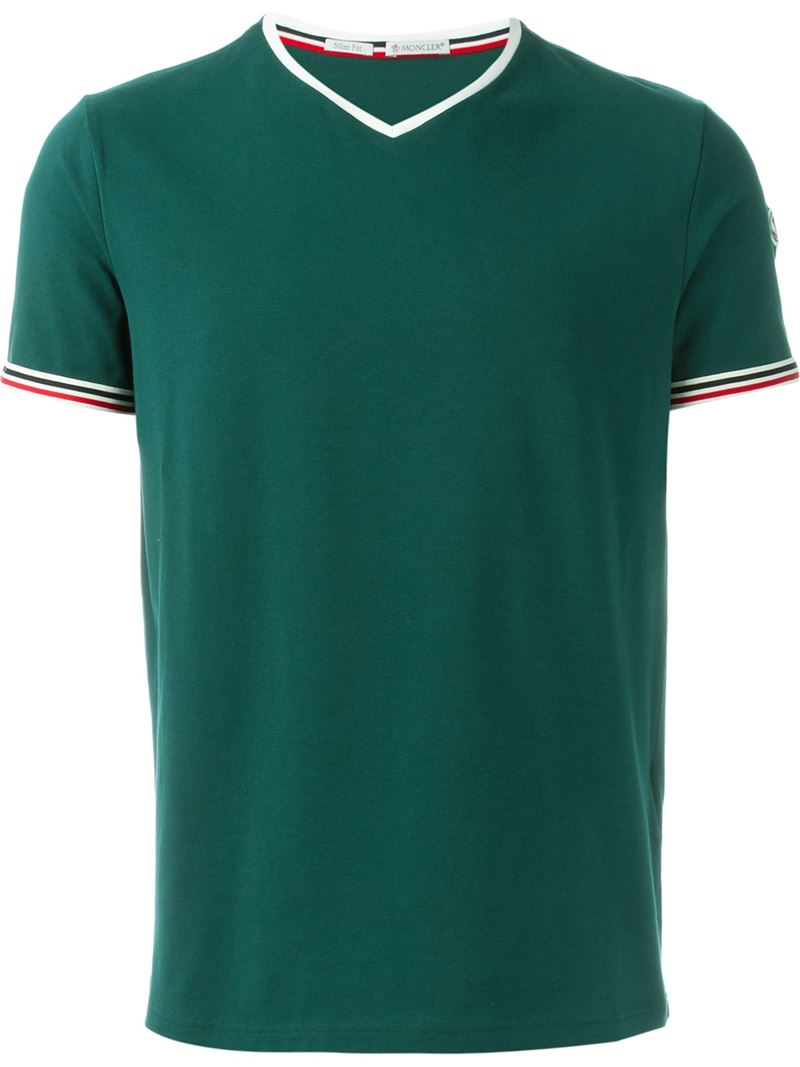moncler v neck t shirt in green for men lyst. Black Bedroom Furniture Sets. Home Design Ideas