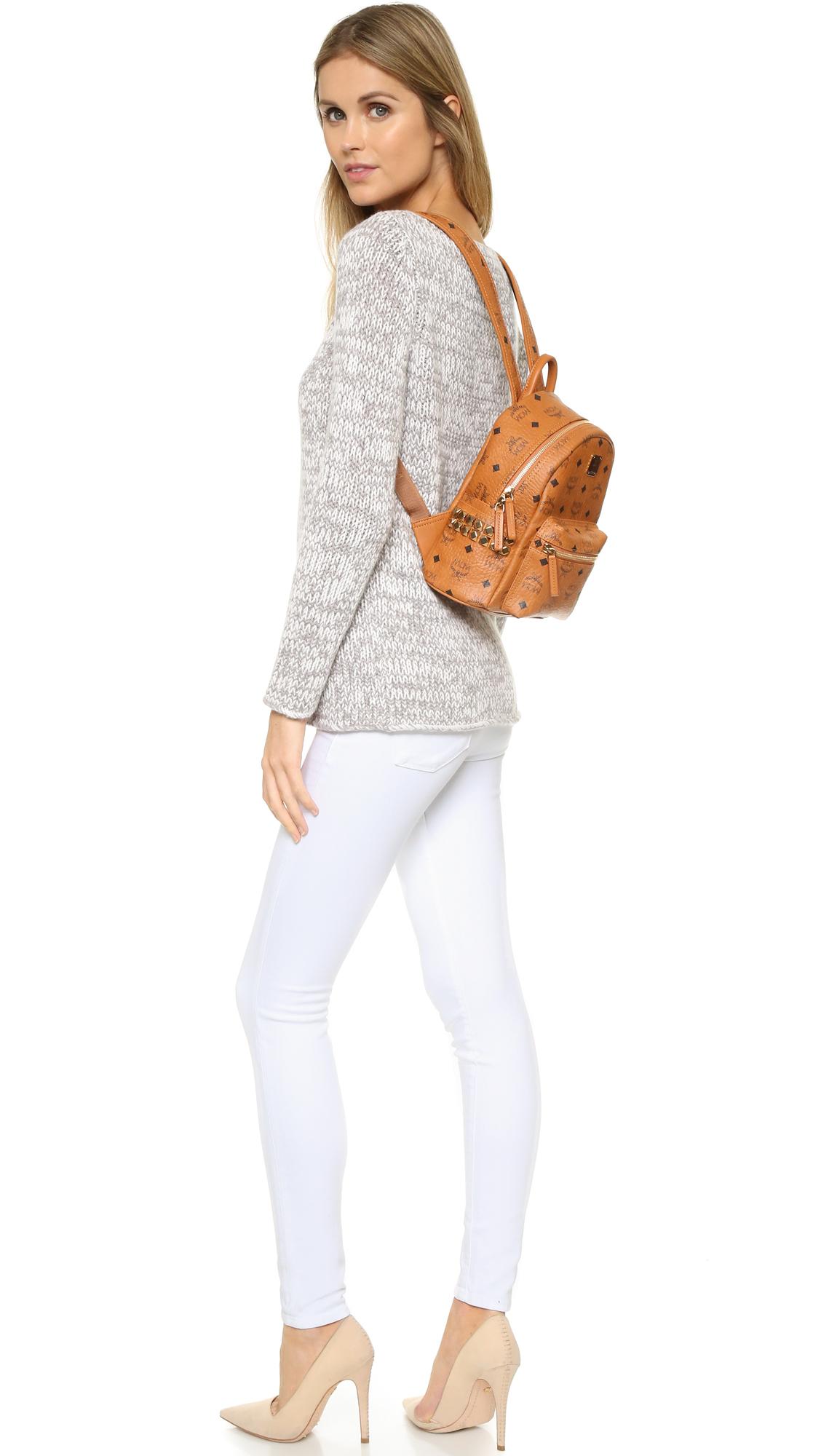 Lyst - MCM Side Stud Mini Stark Backpack in Brown 1208e71af0e17
