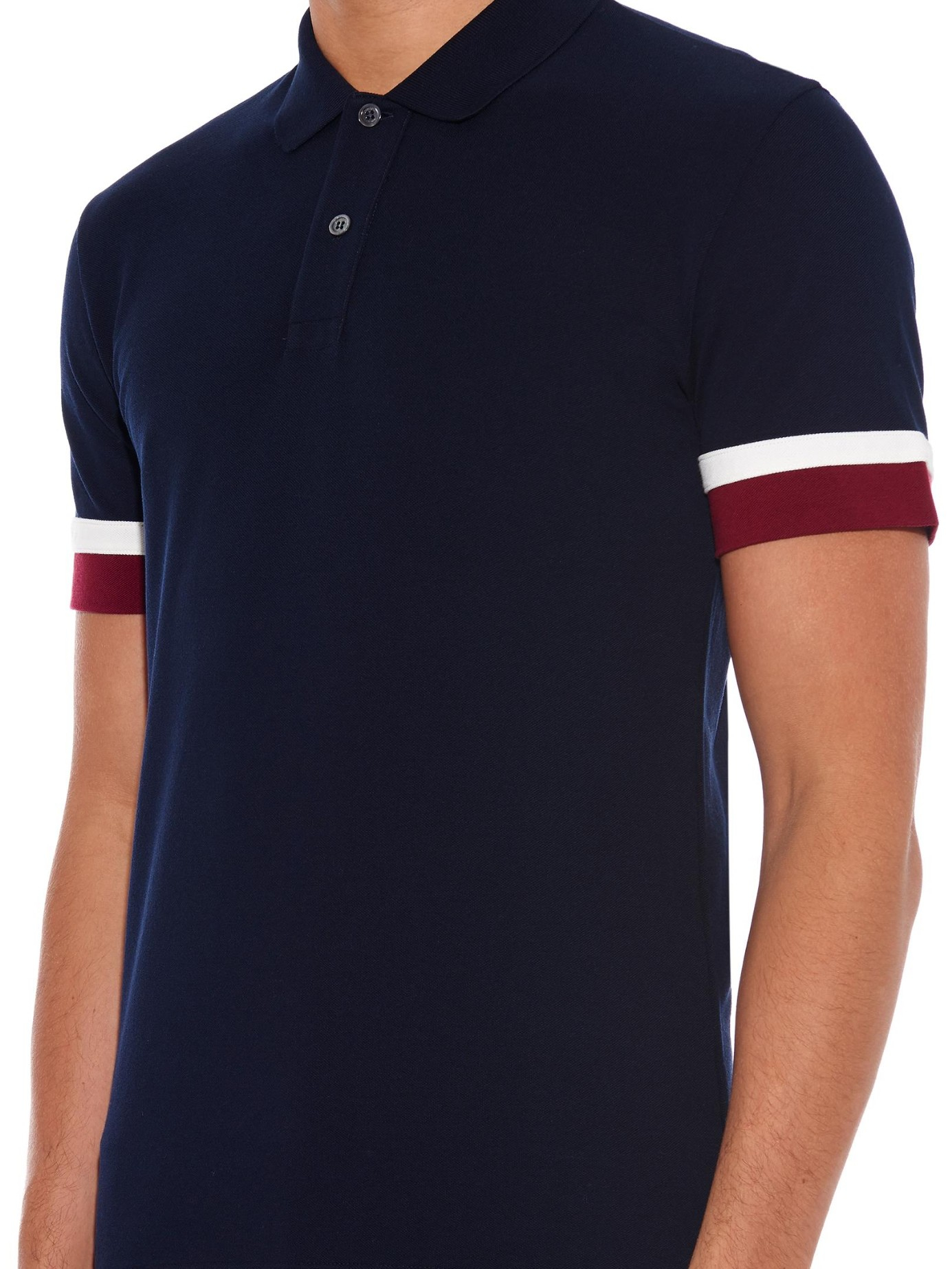 5af297827 Gucci Contrast-Cuff Cotton-Piqué Polo Shirt in Blue for Men - Lyst