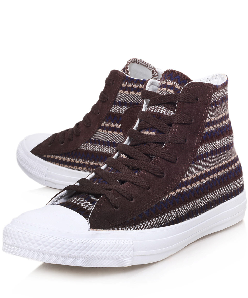 0c743fb08525 ... Ox Converse Brown Chuck Taylor Native Blanket Hi Top Trainers i .