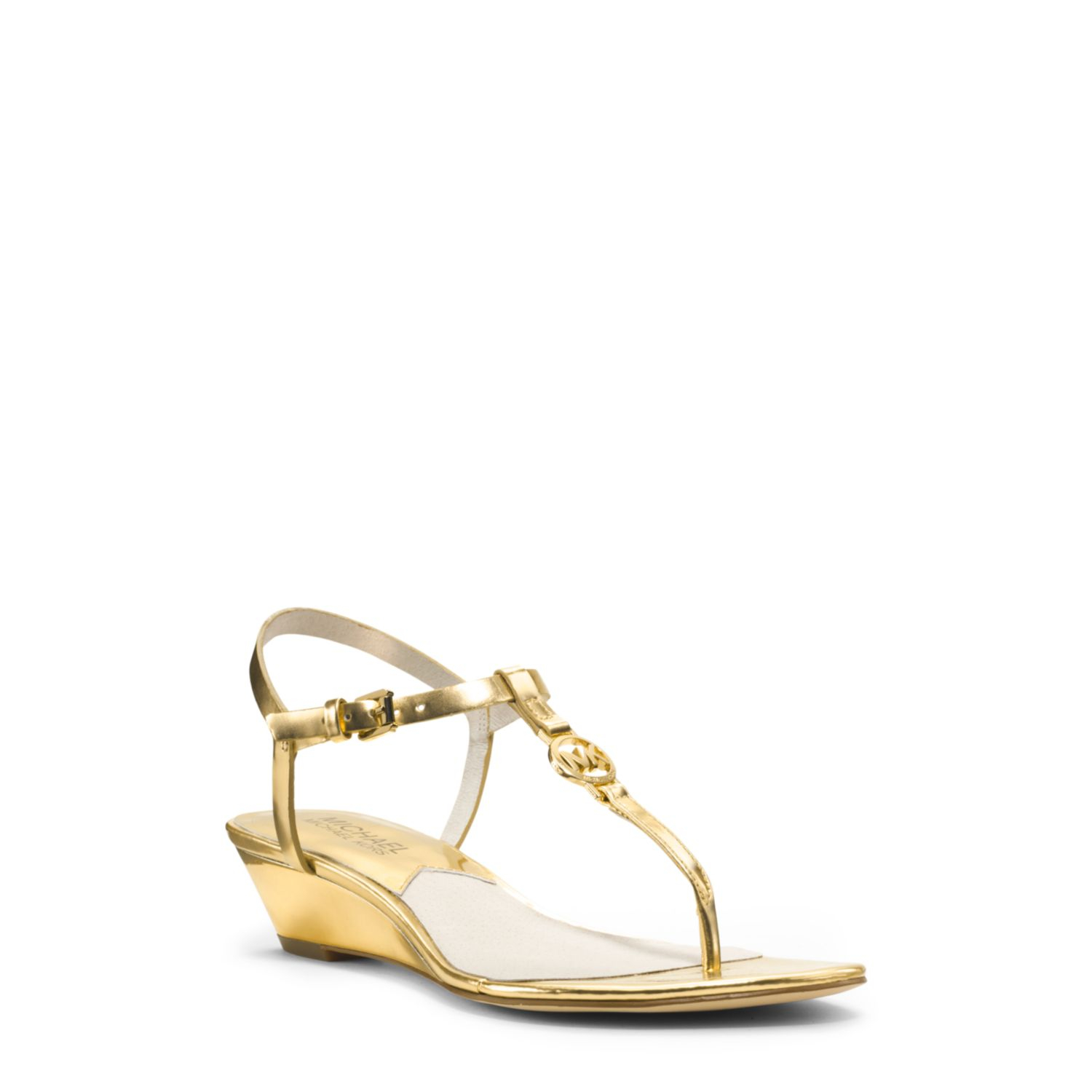 michael kors nora metallic leather wedge sandal in gold lyst