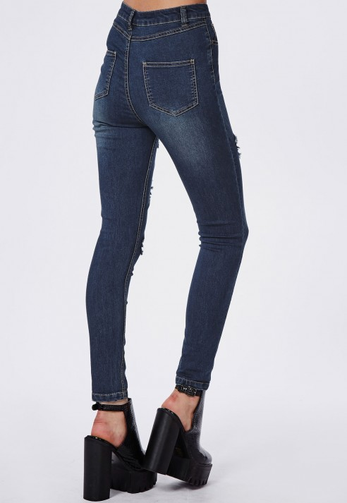 Missguided Edie High Waisted Multi Rip Skinny Jeans Indigo in Blue ...