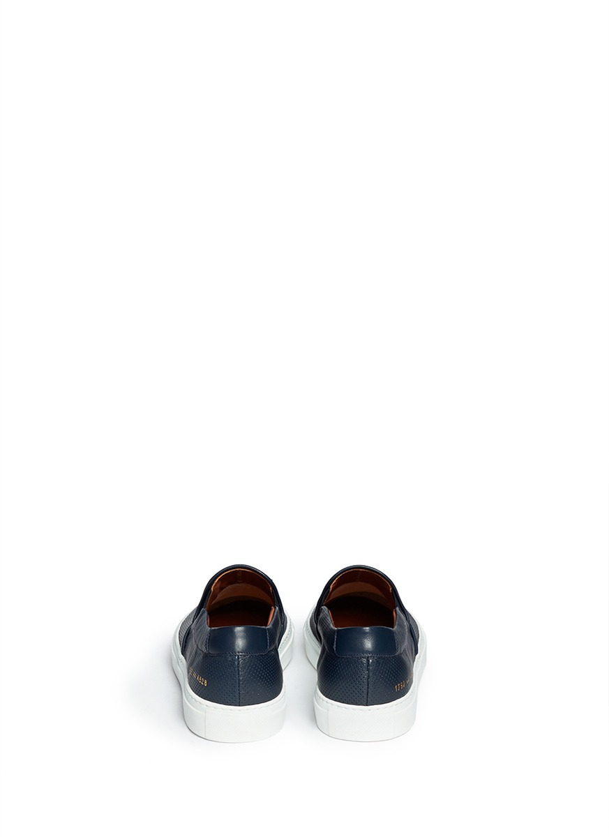 lyst common projects perforated leather skate slip ons in blue for men. Black Bedroom Furniture Sets. Home Design Ideas