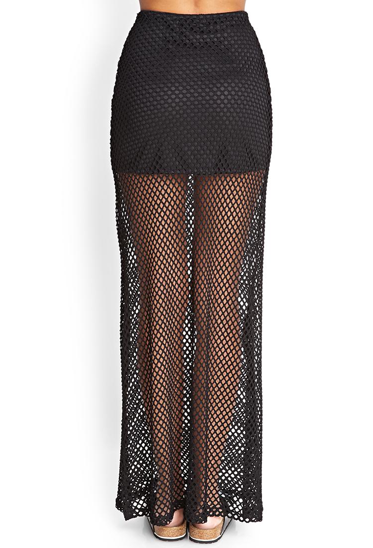 Forever 21 Mesh Net Maxi Skirt in Black | Lyst