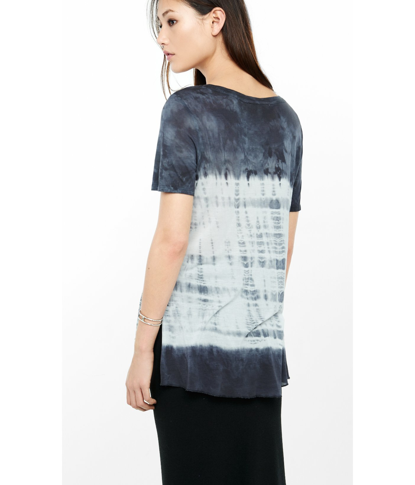 Lyst express gray tie dyed one eleven side slit t shirt for Express shirt and tie