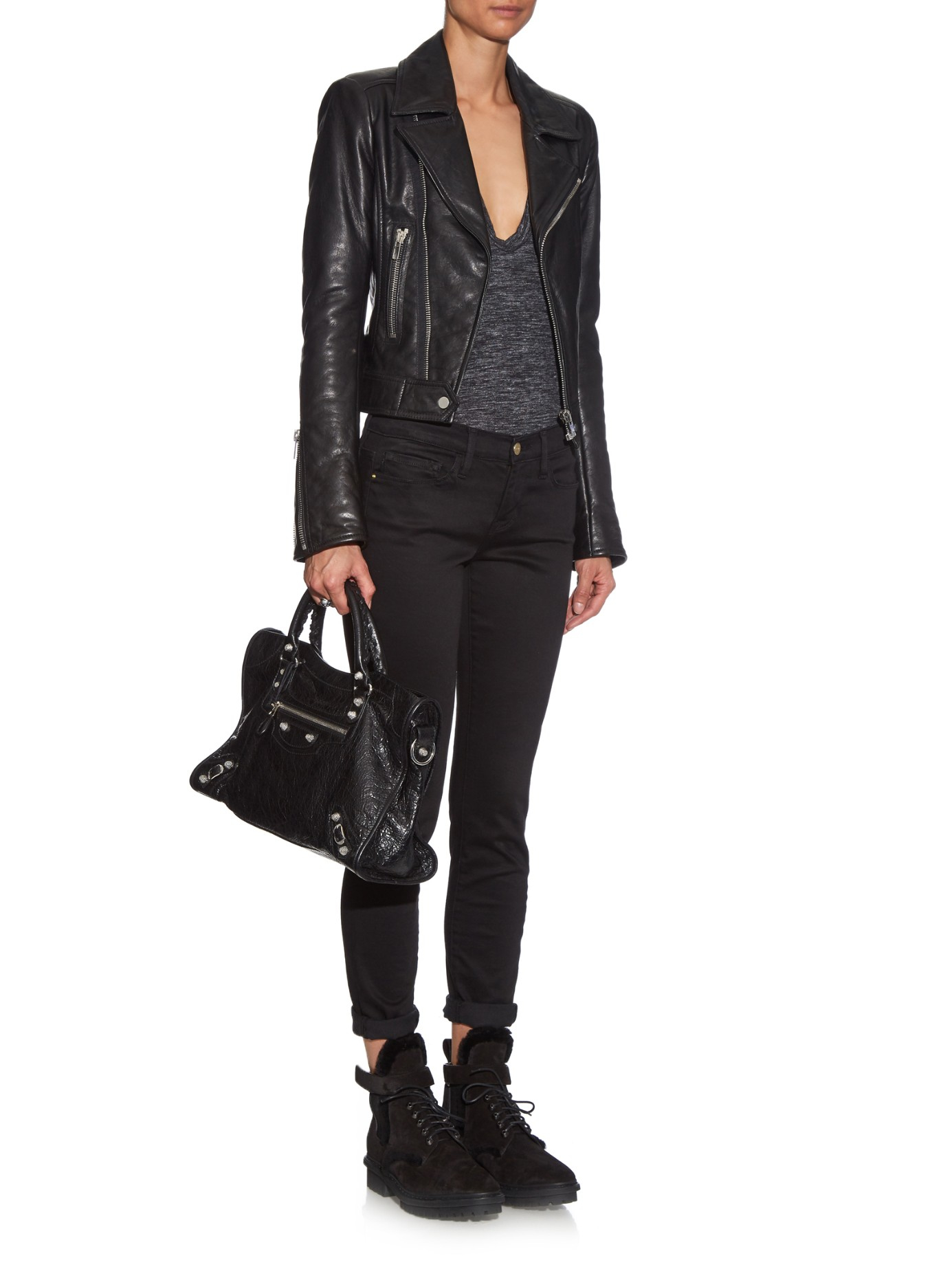 Lyst Balenciaga Unit Shearling Ankle Boots In Black