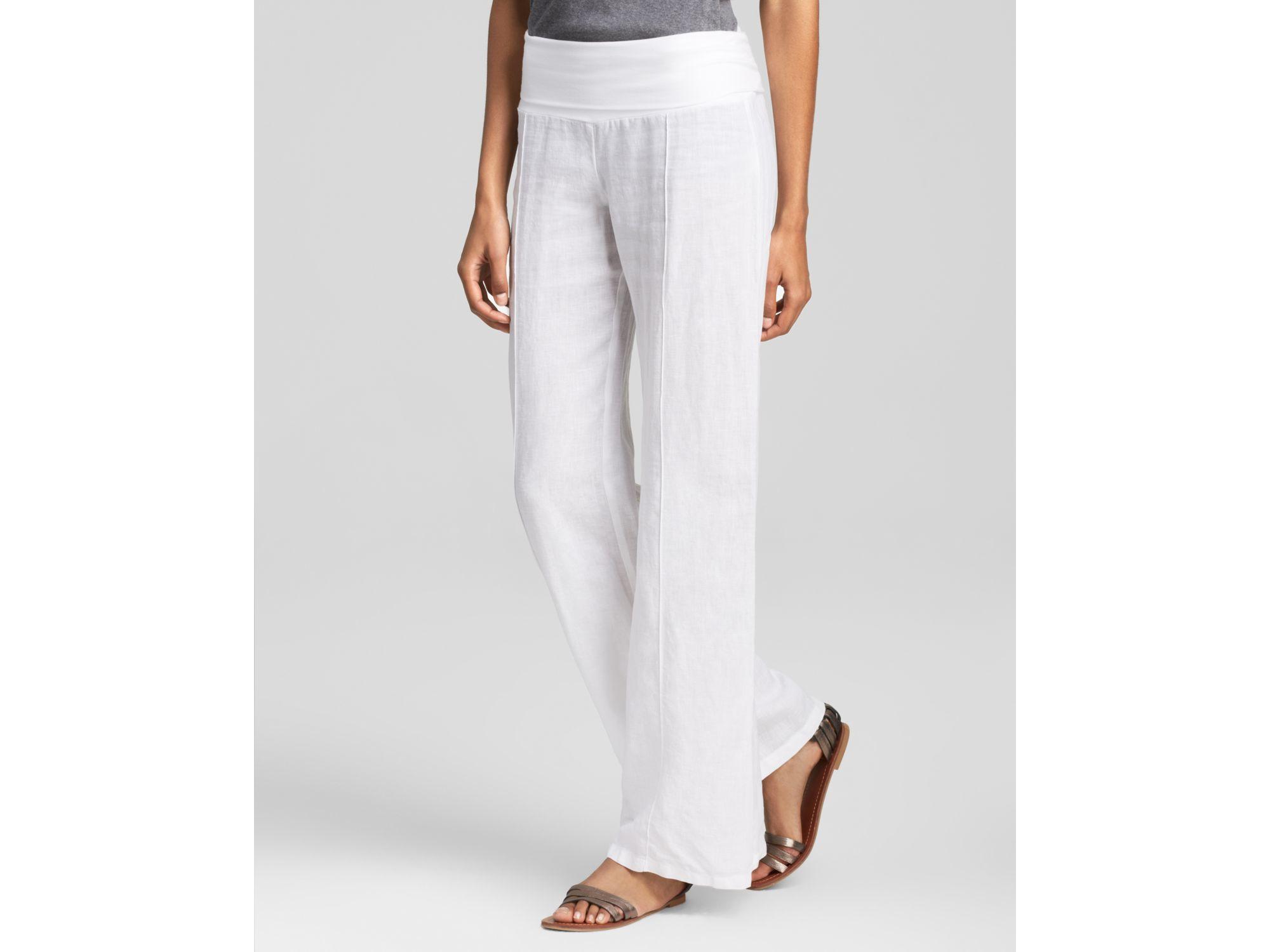 Moon & meadow Foldover Linen Pants in White | Lyst