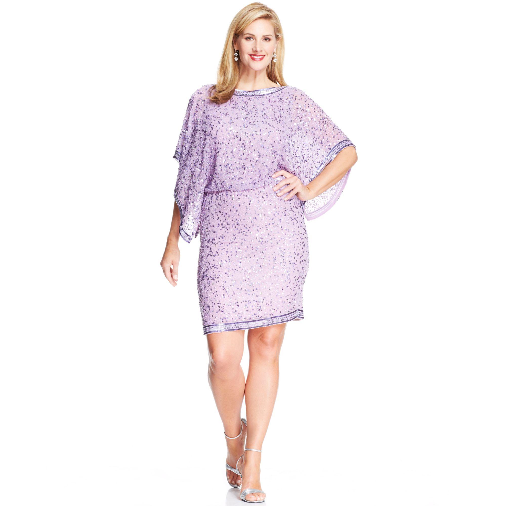 9c368a5b1cc Patra Plus Size Kimonosleeve Beaded Dress in Purple - Lyst