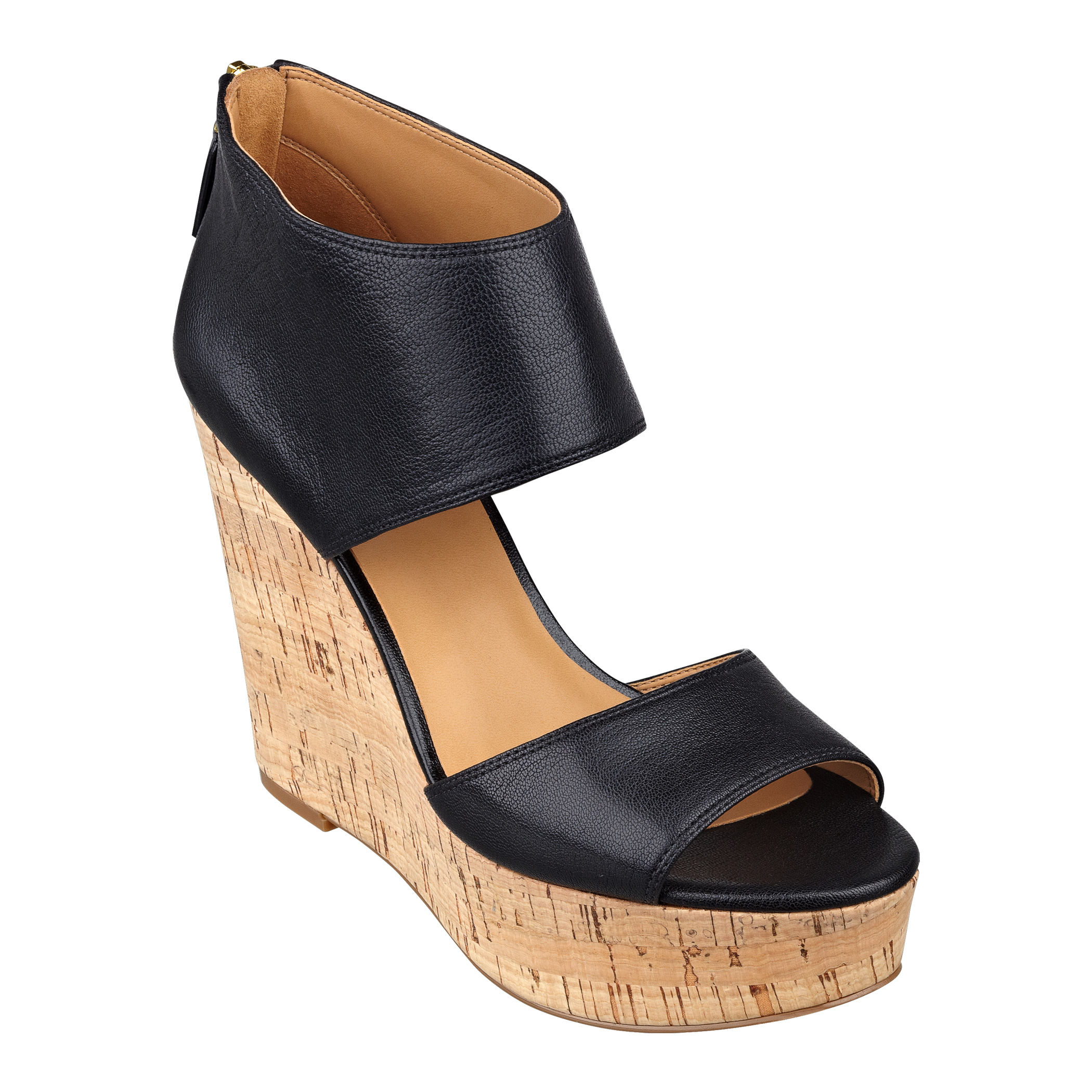 Nine West Caswell Platform Wedge Sandals in Black (BLACK ...