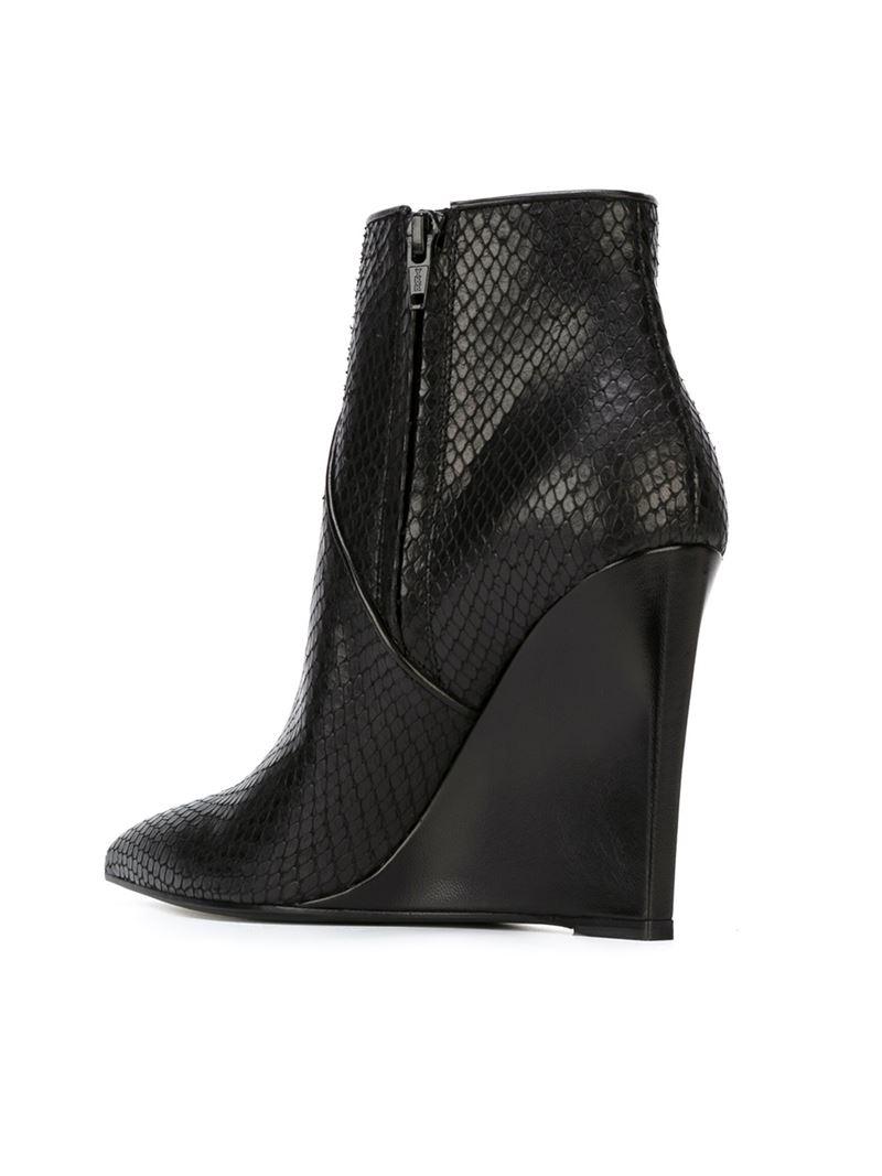 829d2e57627 Saint Laurent Wedge Heel Ankle Boots in Black - Lyst