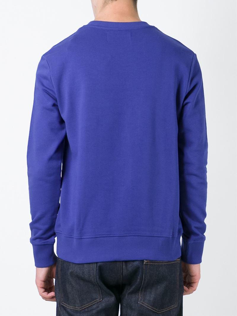 calvin klein jeans logo print sweatshirt in blue for men. Black Bedroom Furniture Sets. Home Design Ideas