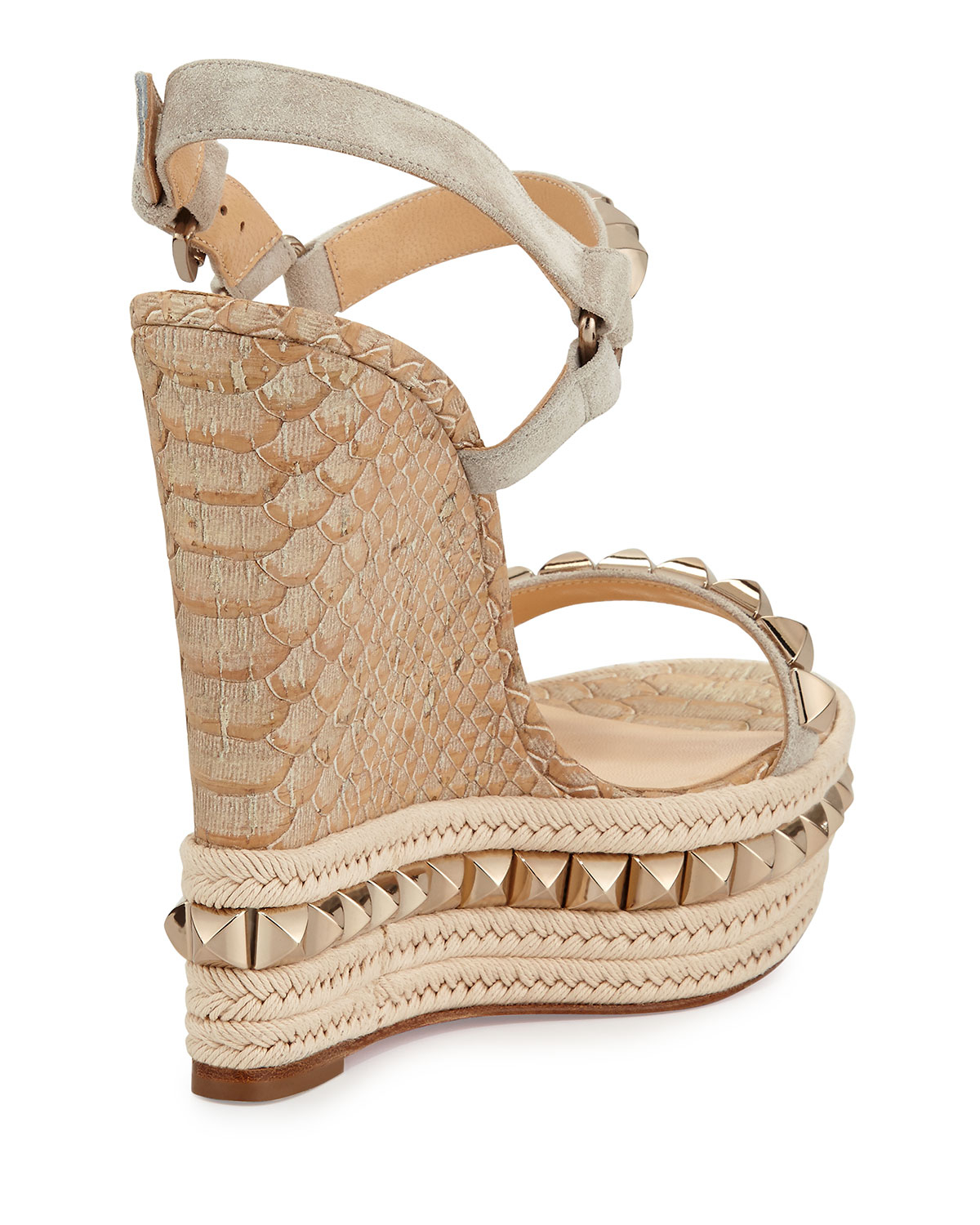 Christian louboutin Cataclou Python-Embossed Wedge Sandals in Gold ...