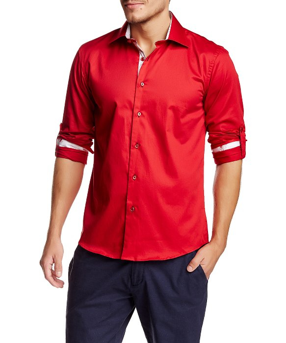 T.r. premium Red Long Sleeve Roll Up Button Down Dress Shirt in ...
