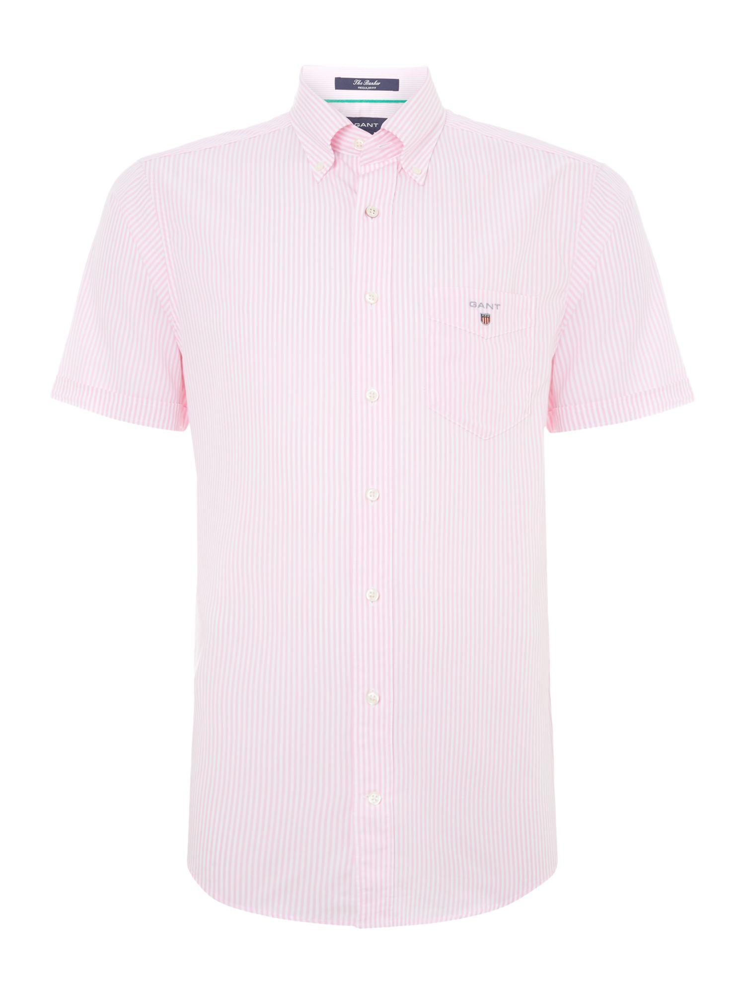 Gant Short Sleeve Banker Shirt In Pink For Men Lyst