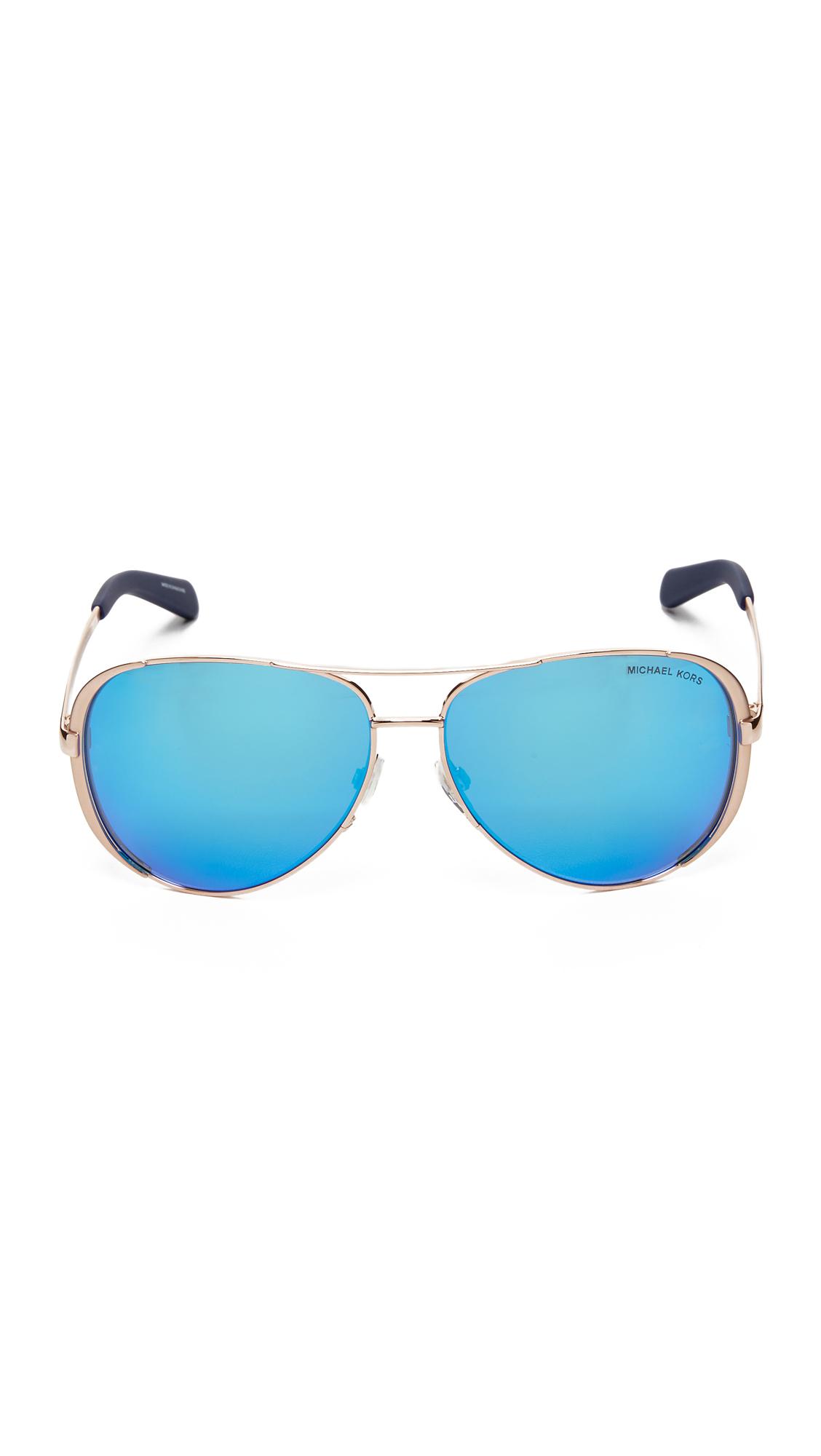 ea36dda866a Lyst - Michael Kors Chelsea Polarized Sunglasses in Metallic