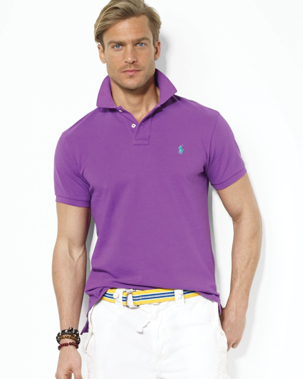 Ralph lauren polo customfit mesh polo shirt in purple for Man in polo shirt
