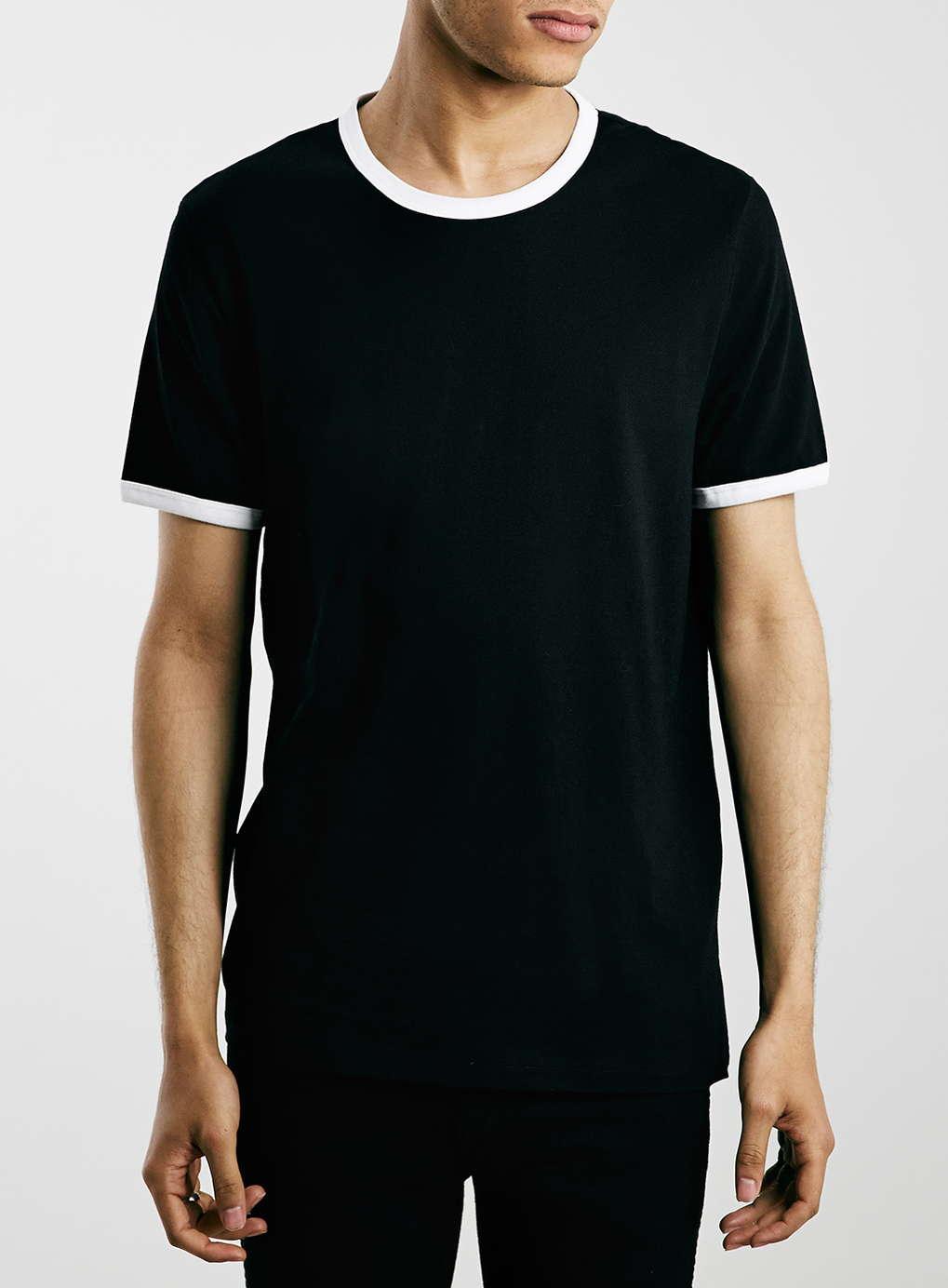 Topman black white slim fit ringer t shirt in black for for Slim fit white t shirt
