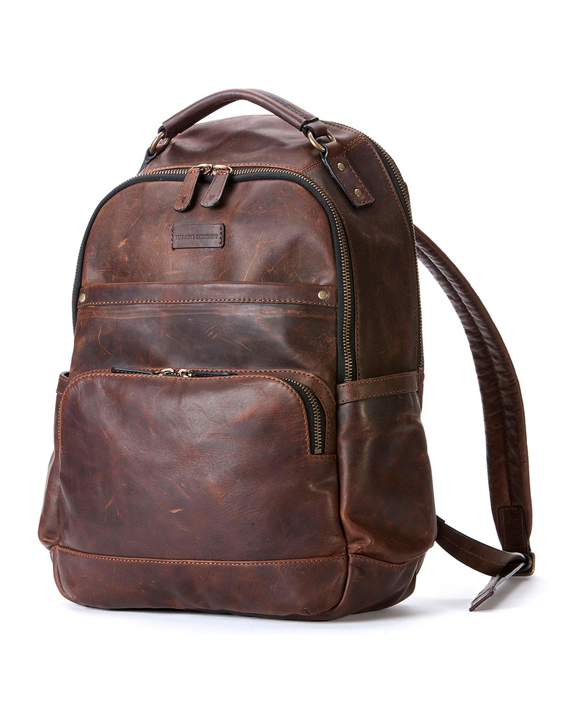 Frye Logan Leather Backpack Dark Brown In Brown For Men