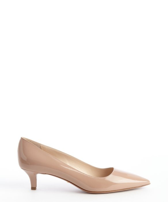 Prada Nude Patent Leather Kitten Heel Pumps in Natural | Lyst