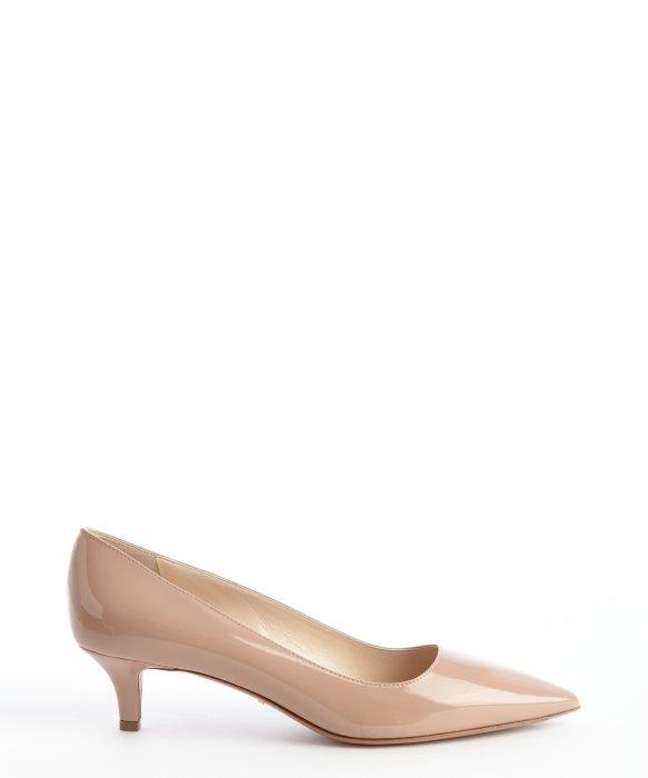 Prada Nude Patent Leather Kitten Heel Pumps in Beige (nude) | Lyst