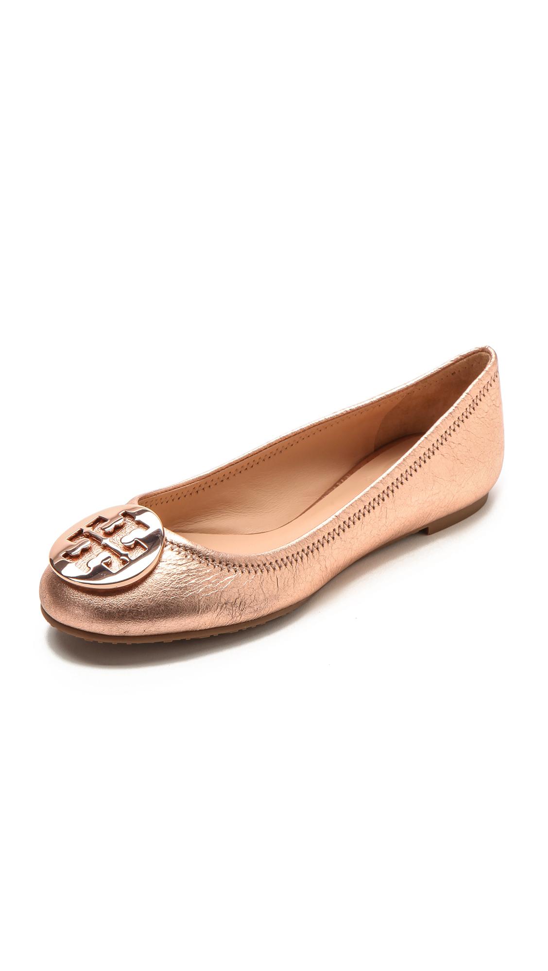 2c685687e ... hot lyst tory burch reva ballet flats rose gold in pink 6f39a 9750a